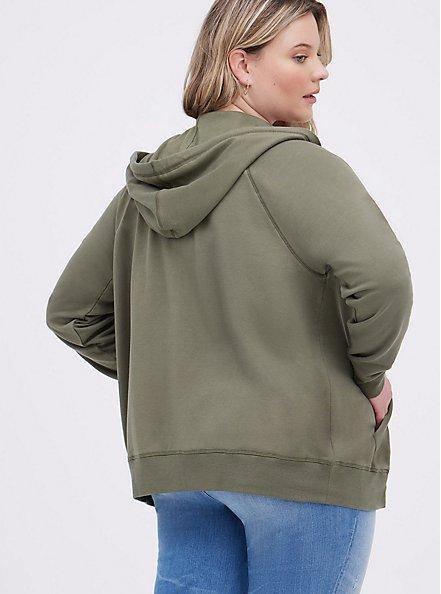Zip-Up Hoodie - Ultra Soft Fleece Olive, DEEP DEPTHS, alternate