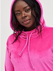 Hooded Sweatshirt Dress - Velour Pink, PINK GLO, alternate