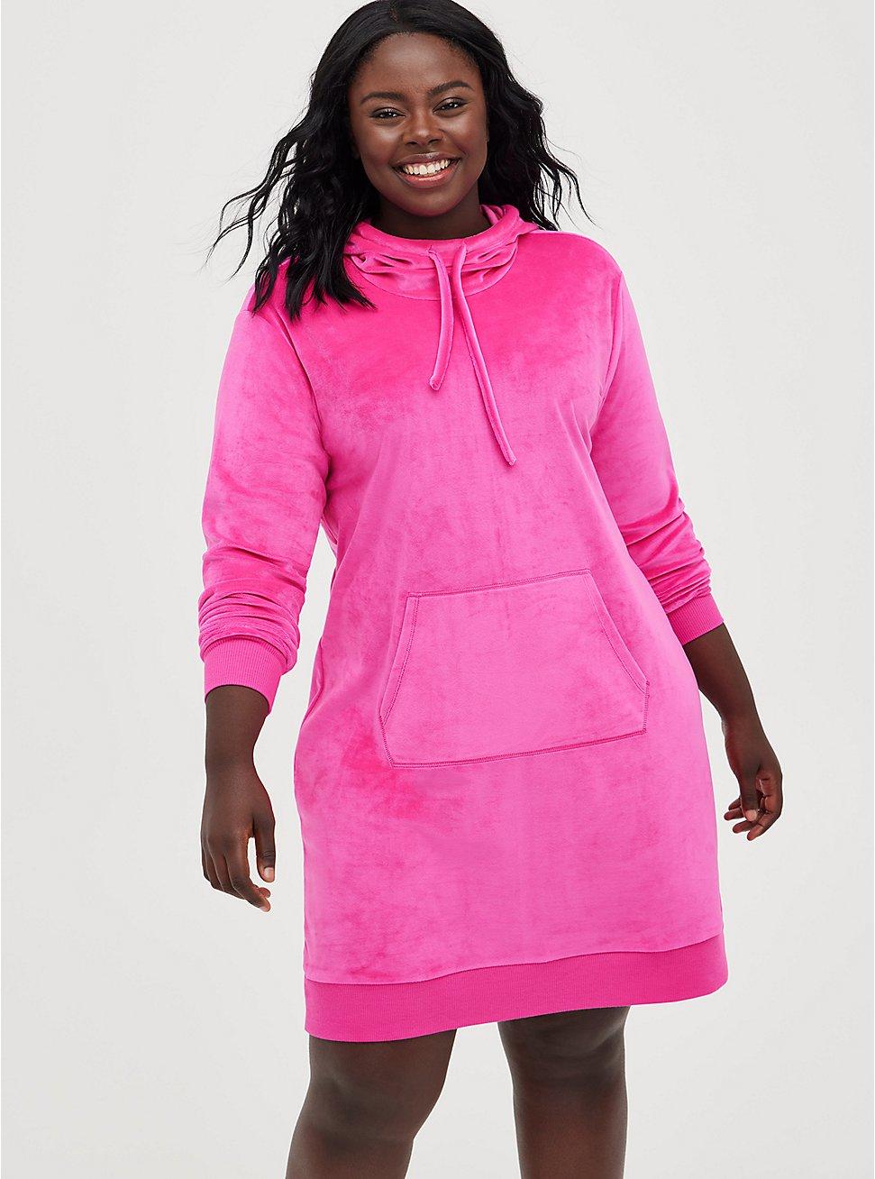 Hooded Sweatshirt Dress - Velour Pink, PINK GLO, hi-res