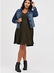 Skater Dress - Super Soft Plush Marled Olive, DEEP DEPTHS, alternate
