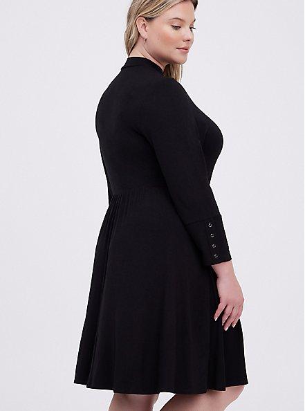 Mock Neck Skater Dress - Super Soft Black , DEEP BLACK, alternate