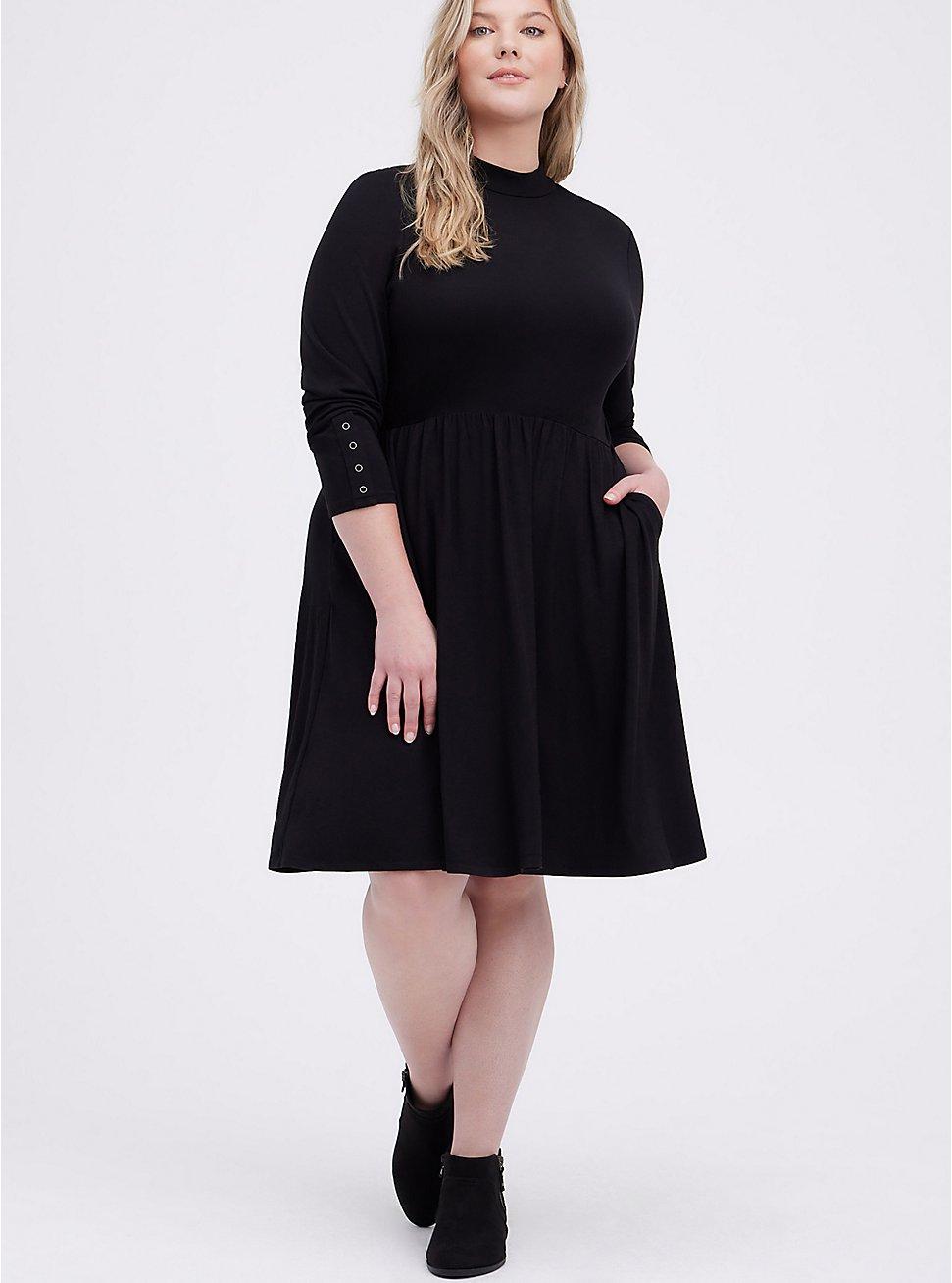 Mock Neck Skater Dress - Super Soft Black , DEEP BLACK, hi-res
