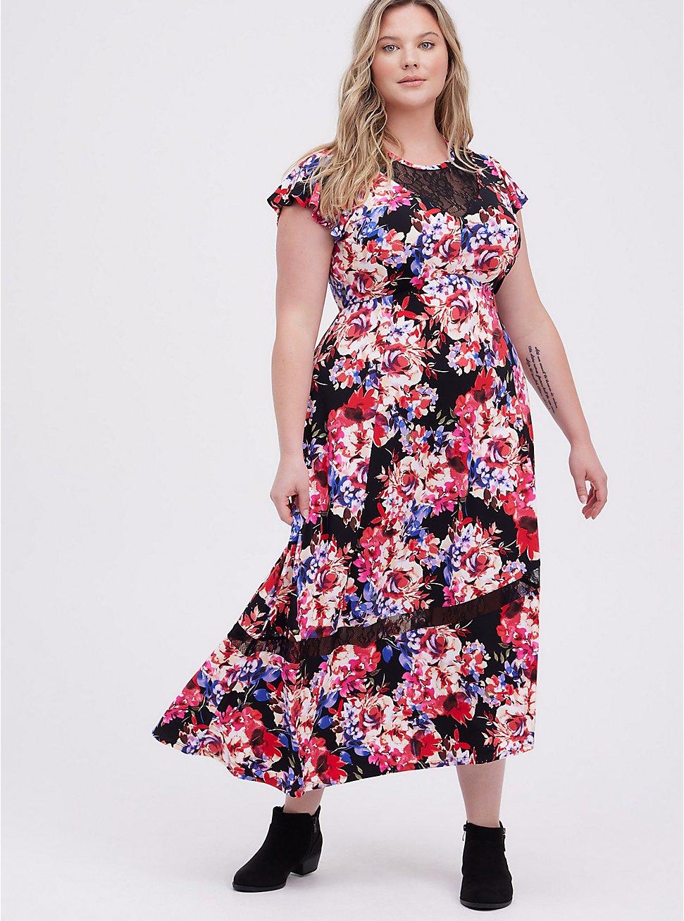 Plus Size Skater Midi Dress - Studio Knit Lace Floral Black, FLORAL - BLACK, hi-res