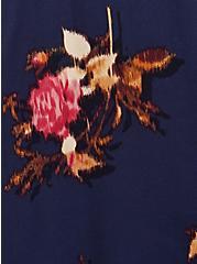 Tie Neck Midi Dress - Stretch Challis Floral Blue, FLORAL - BLUE, alternate