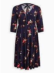 Tie Neck Midi Dress - Stretch Challis Floral Blue, FLORAL - BLUE, hi-res