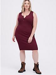 Plus Size Henley Bodycon Sweater Dress - Wine, ZINFANDEL, hi-res