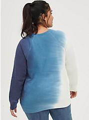 Plus Size Sweatshirt - Cozy Fleece Be Grateful Tie Dye Navy, TIE DYE-BLUE, alternate