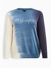 Plus Size Sweatshirt - Cozy Fleece Be Grateful Tie Dye Navy, TIE DYE-BLUE, hi-res