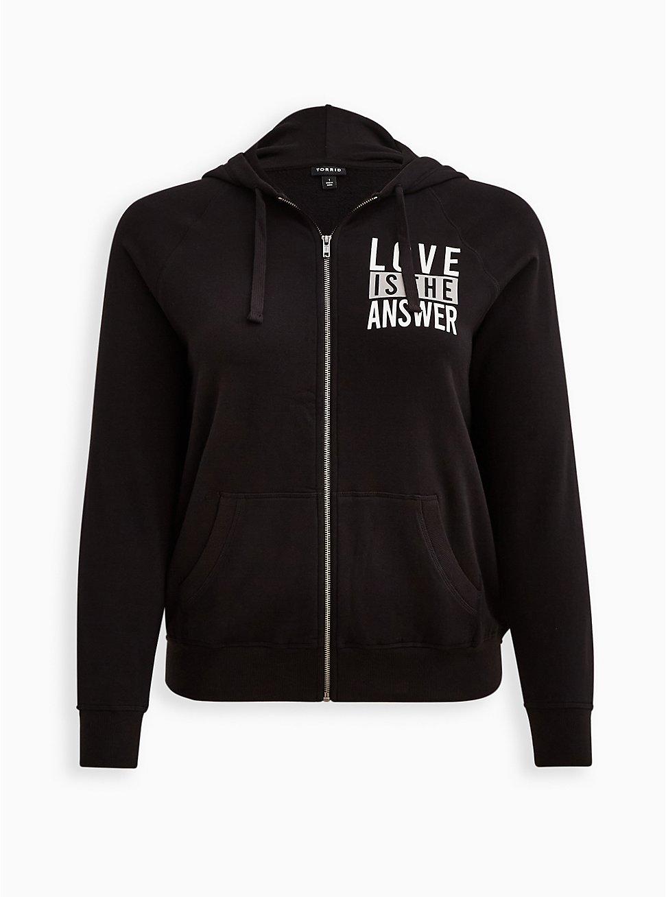Zip-Up Hoodie - Ultra Soft Fleece Love Is The Answer Black, DEEP BLACK, hi-res
