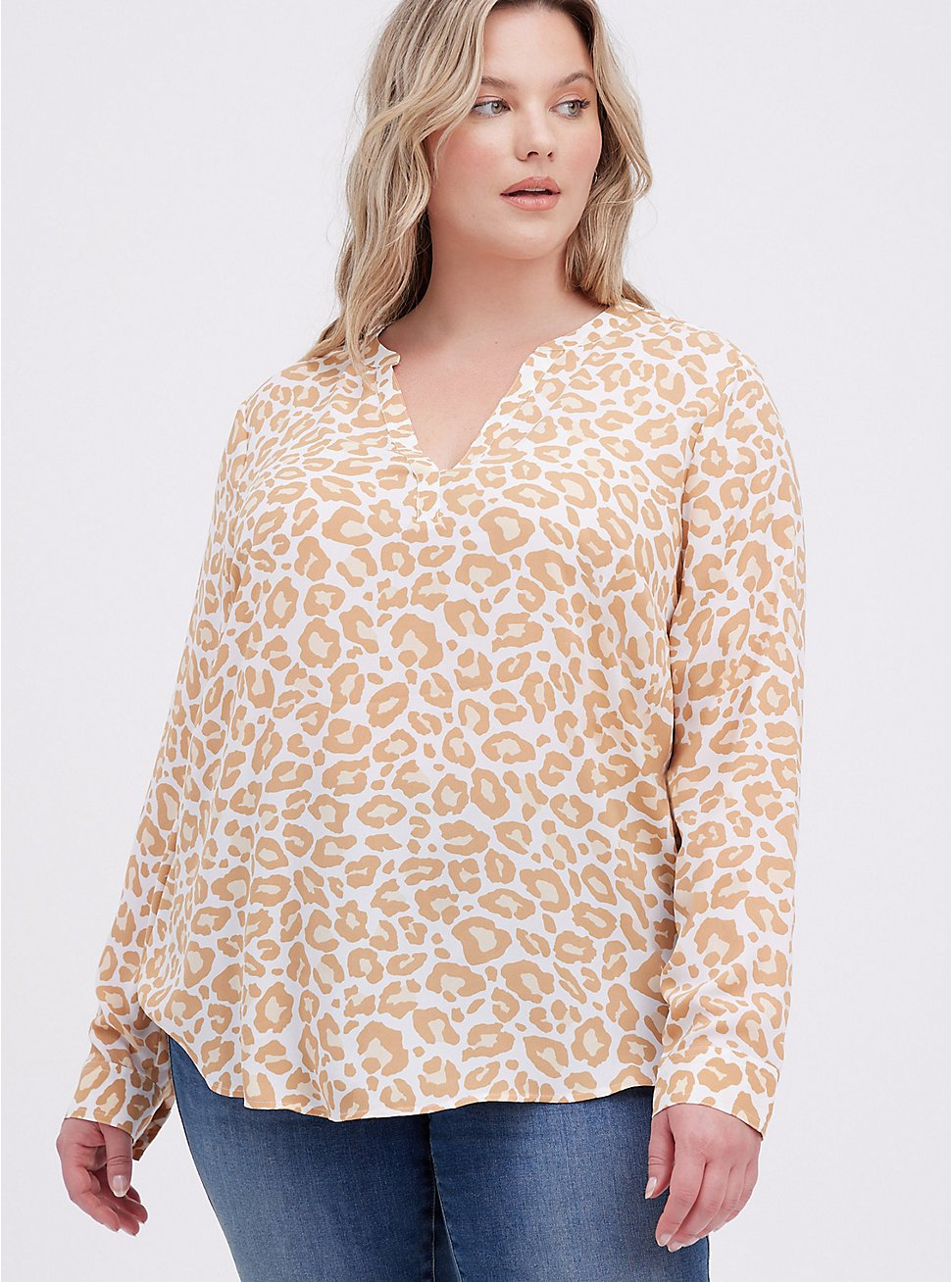 Blouse - Georgette Leopard White, LEOPARD-WHITE, hi-res