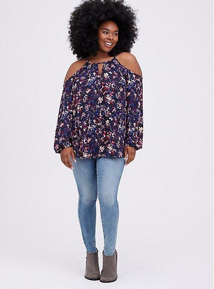 Cold Shoulder Blouse - Georgette Floral Black, FLORAL - BLACK, alternate