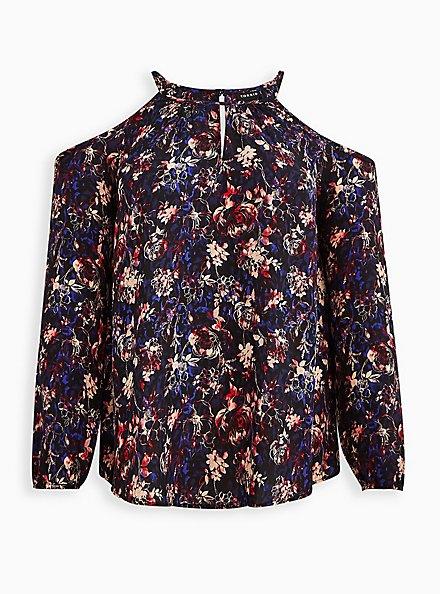 Cold Shoulder Blouse - Georgette Floral Black, FLORAL - BLACK, hi-res