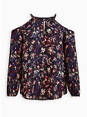 Plus Size Cold Shoulder Blouse - Georgette Floral Black, FLORAL - BLACK, hi-res