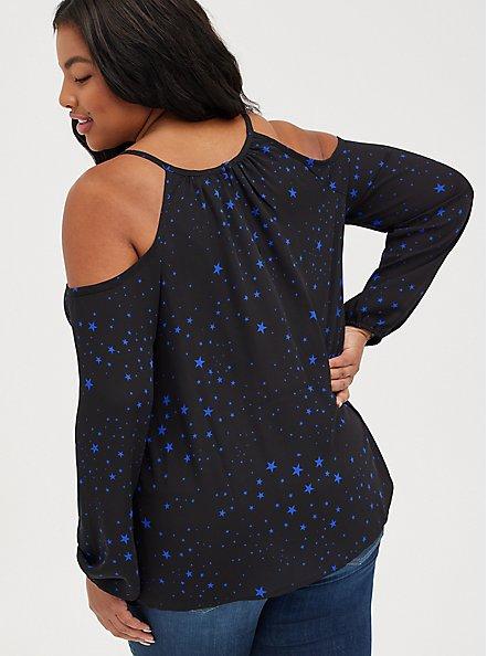 Cold Shoulder Blouse - Georgette Black Stars, STARS - BLACK, alternate