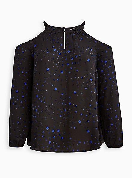 Cold Shoulder Blouse - Georgette Black Stars, STARS - BLACK, hi-res