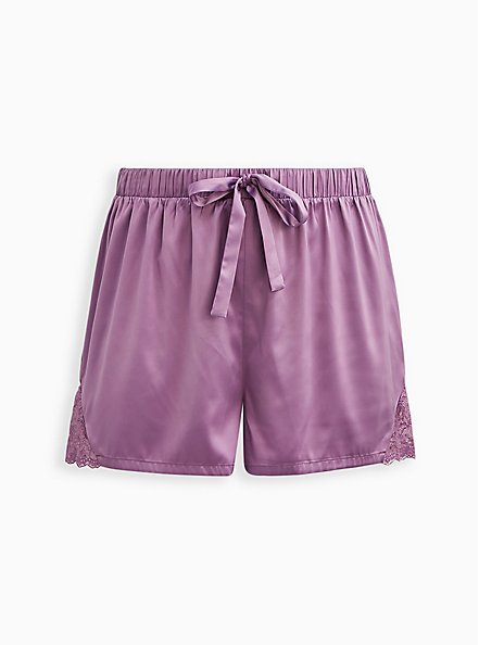Sleep Short - Lace Satin Purple, PURPLE, hi-res