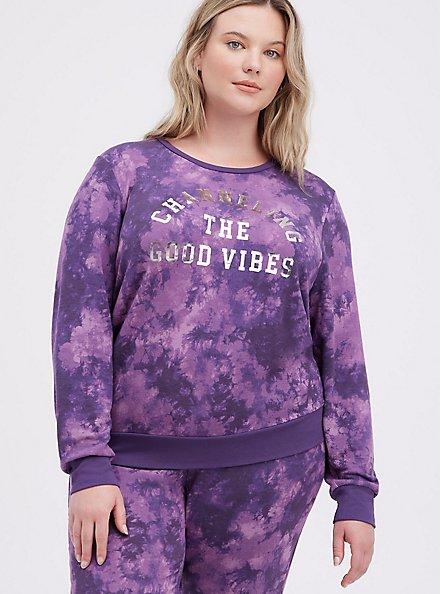 Sleep Sweatshirt - Micro Modal Tie Dye Purple, MULTI, hi-res
