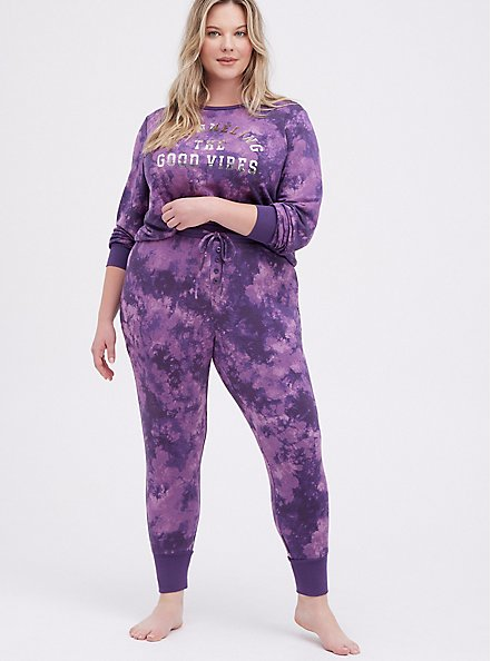 Sleep Legging - Micro Modal Tie Dye Purple, MULTI, alternate