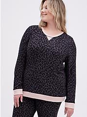 Sleep Sweatshirt - Super Soft Plush Leopard Black, MULTI, hi-res