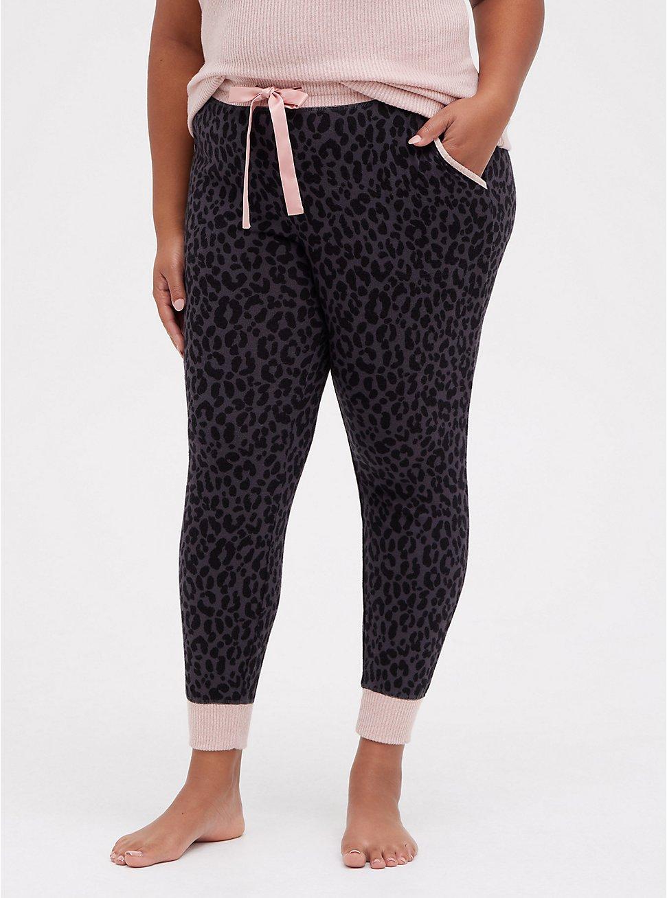 Plus Size Classic Fit Jogger - Super Soft Plush Leopard Black, MULTI, hi-res