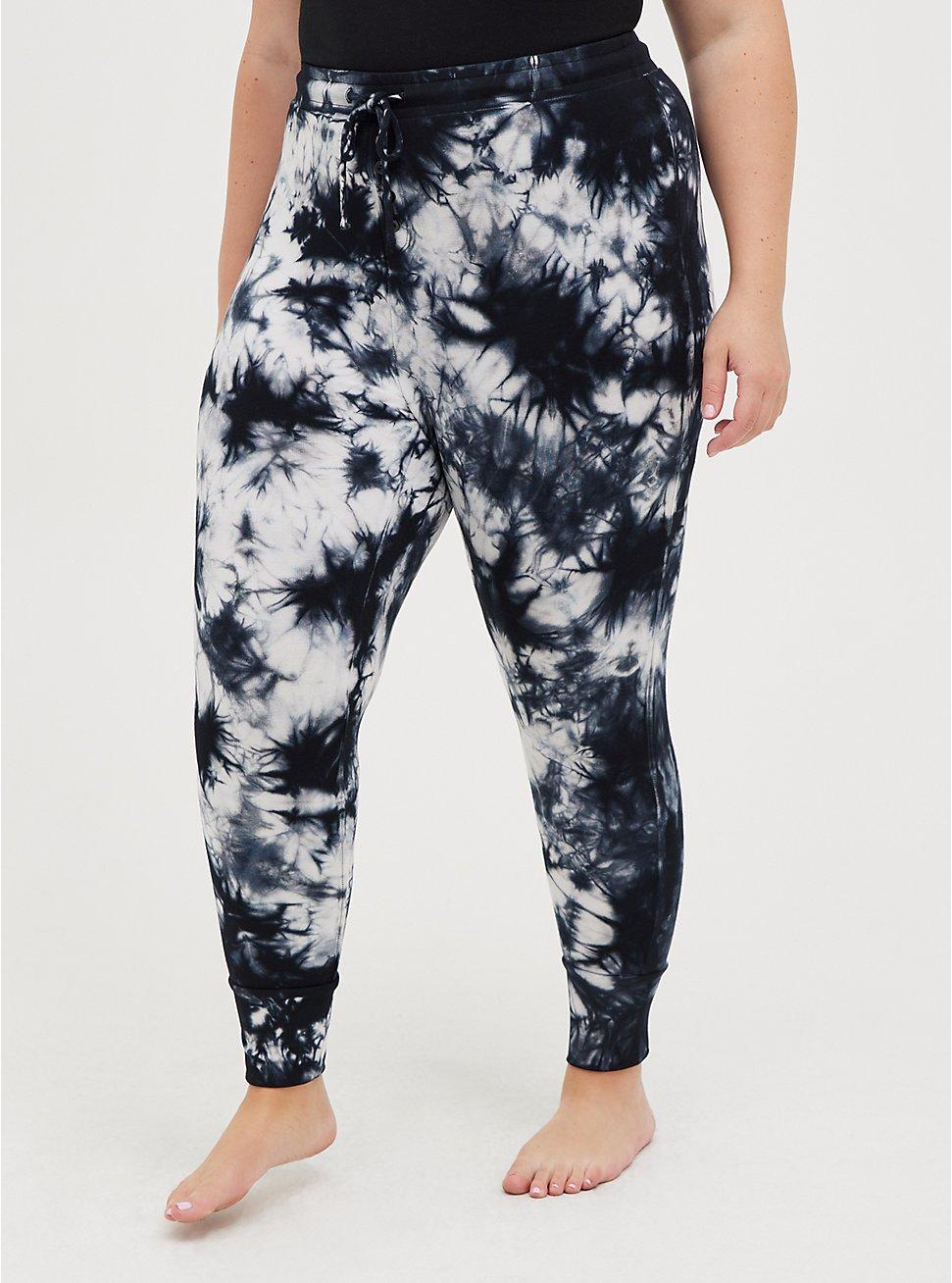 Sleep Legging - Micro Modal Tie Dye Black & White, MULTI, hi-res