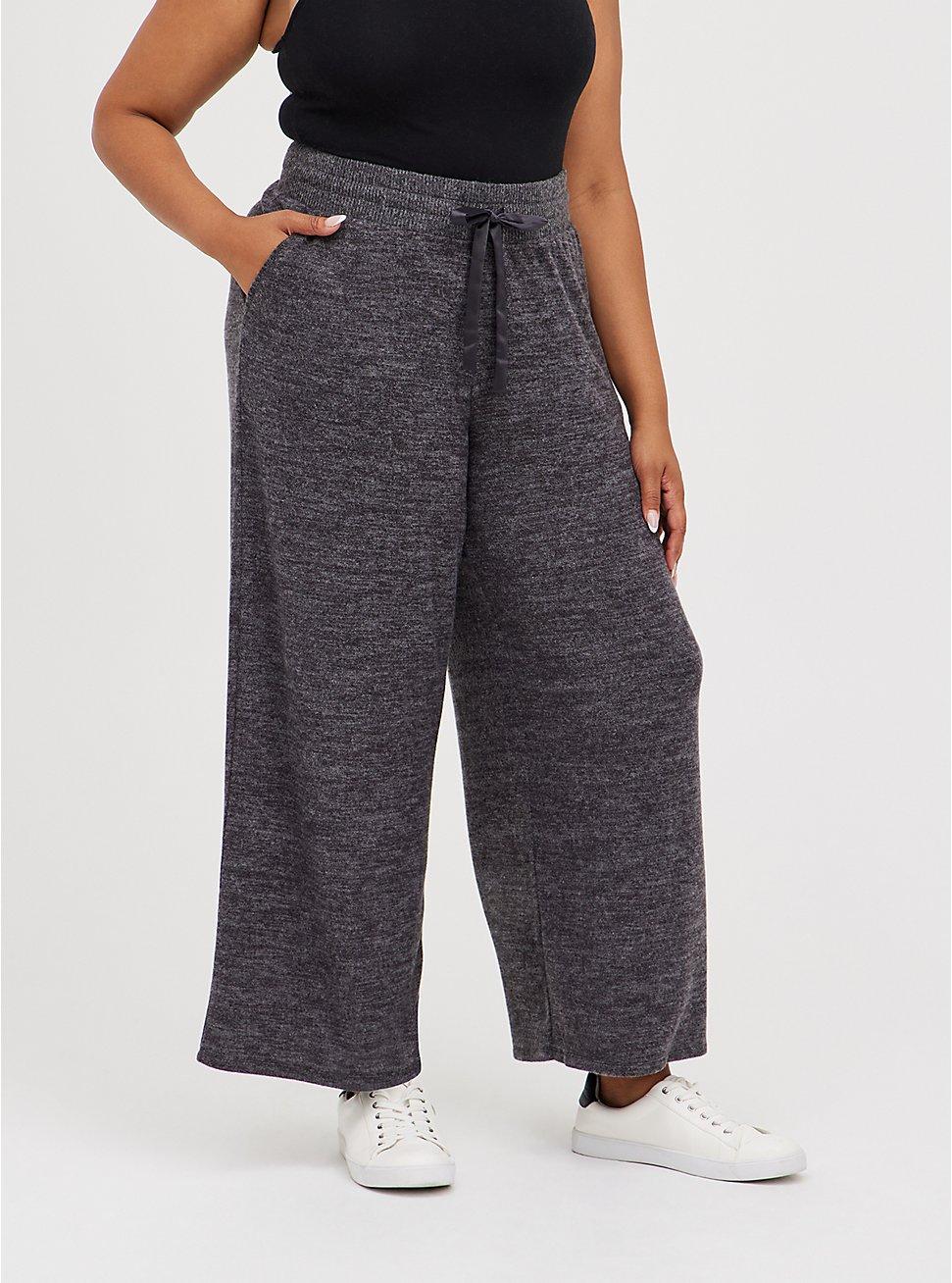 Plus Size Wide Leg Sleep Pant - Super Soft Plush Grey, CHARCOAL  GREY, hi-res