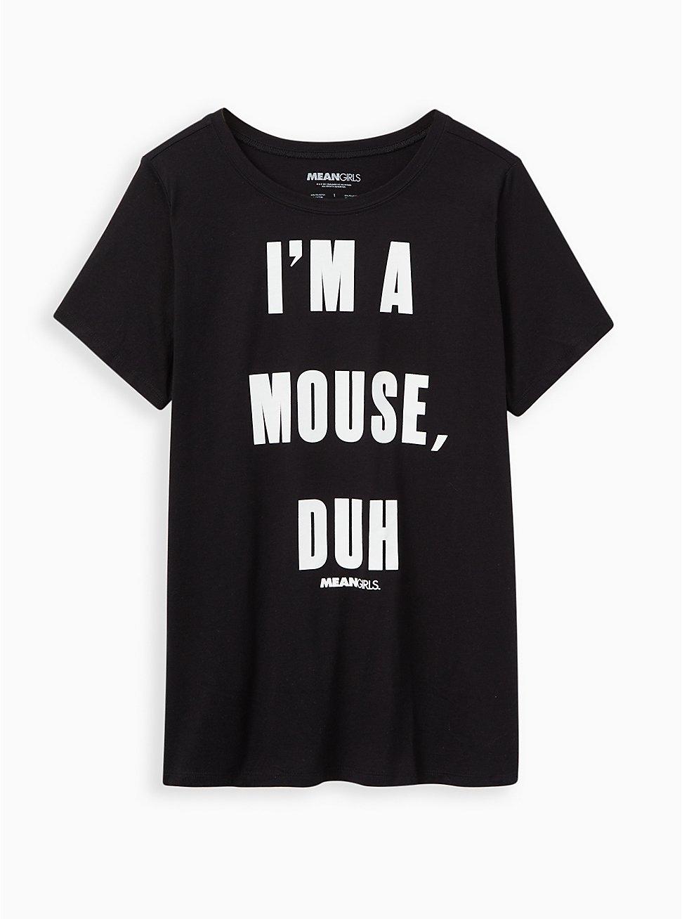 Slim Fit Crew Tee - Signature Jersey Mean Girls Mouse, Duh Black, DEEP BLACK, hi-res