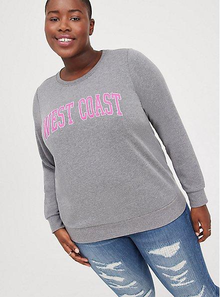 Sweatshirt - Cozy Fleece West Coast Grey, MEDIUM HEATHER GREY, hi-res