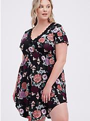 Sleep Dress - Super Soft Jersey Floral Black, MULTI, hi-res
