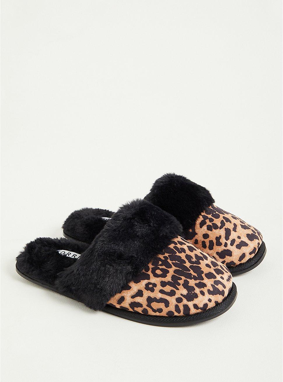 Plus Size Slipper - Faux Suede Leopard (WW), LEOPARD, hi-res