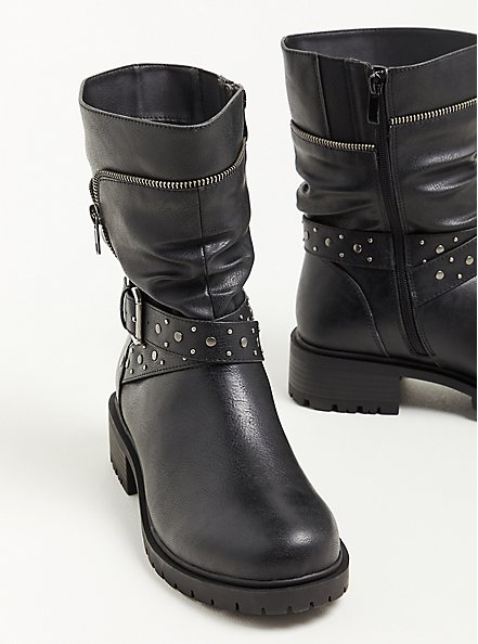 Moto Boot - Studded Faux Leather Black (WW), BLACK, alternate