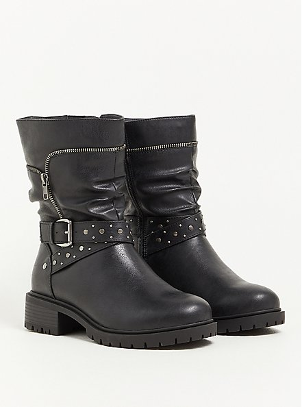 Moto Boot - Studded Faux Leather Black (WW), BLACK, hi-res