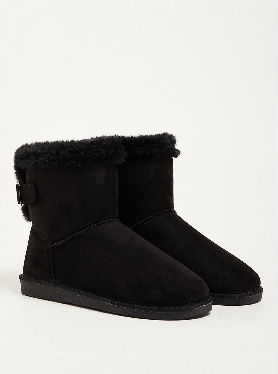 Fur-Lined Bootie - Faux Suede Black (WW), BLACK, hi-res