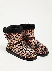 Plus Size Fur-Lined Bootie - Faux Suede Black (WW), LEOPARD, hi-res