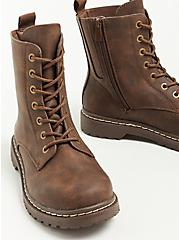 Stevie Combat Boot - Faux Leather Brown (WW), BROWN, alternate