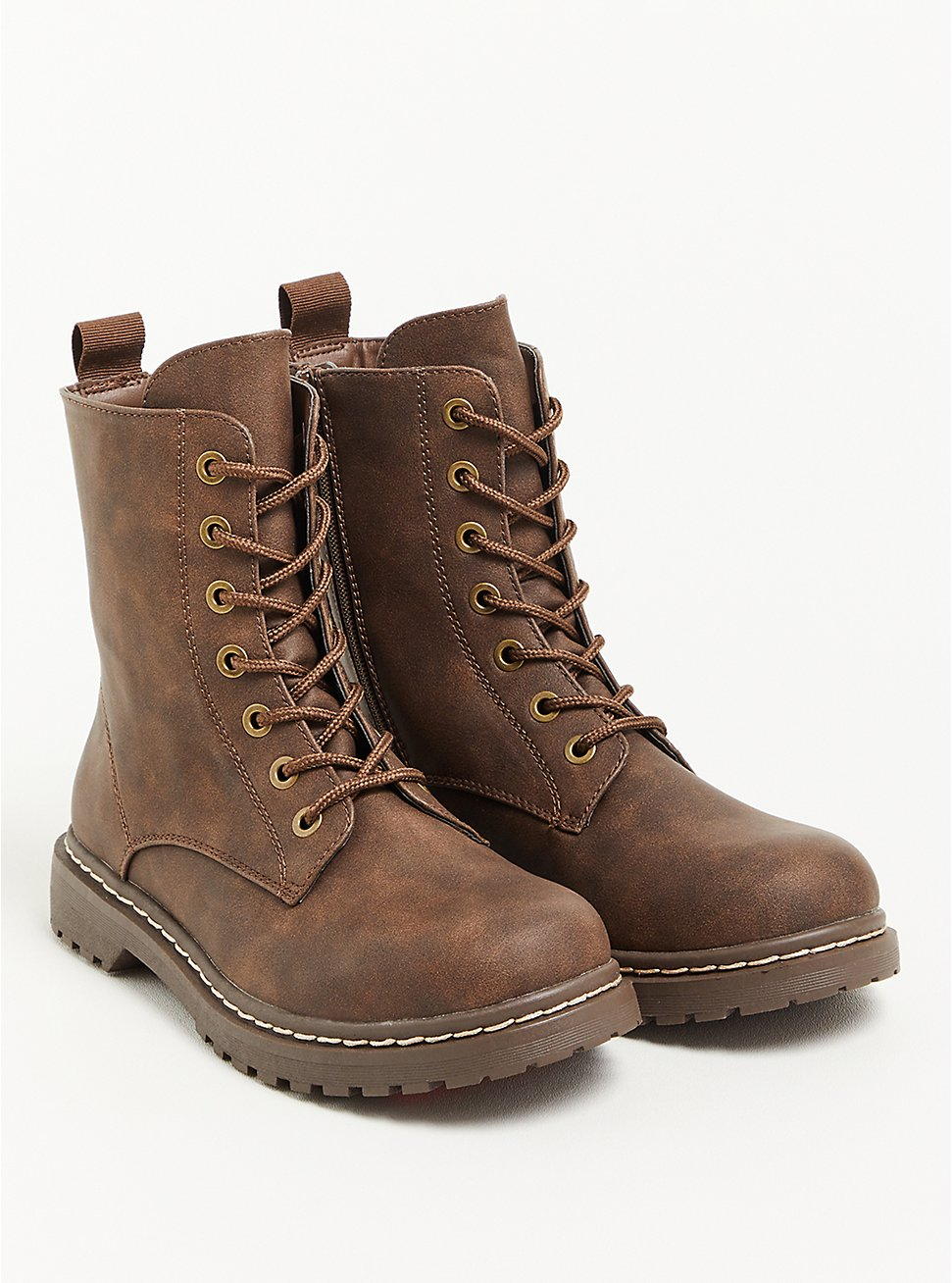 Stevie Combat Boot - Faux Leather Brown (WW), BROWN, hi-res