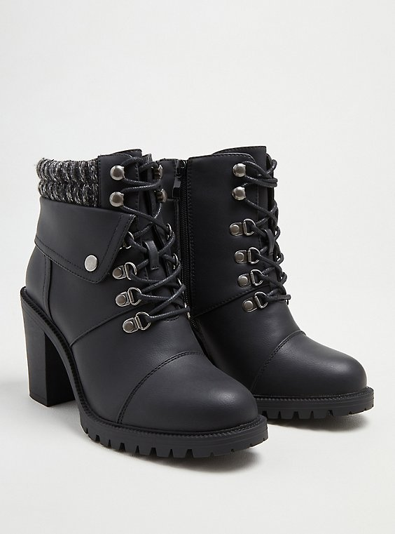 Sweater Hiker Boot - Black Faux Leather (WW), BLACK, hi-res