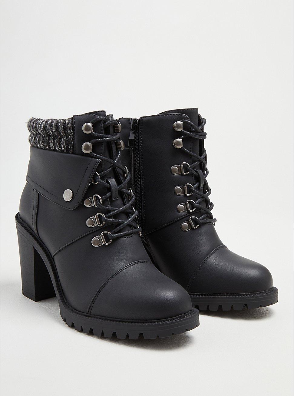 Plus Size Sweater Hiker Boot - Black Faux Leather (WW), BLACK, hi-res