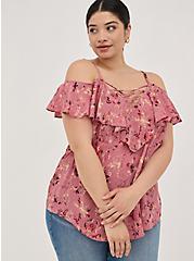 Lace-Up Cold Shoulder Blouse - Georgette Floral Dusty Rose, FLORAL - PINK, alternate