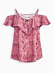 Lace-Up Cold Shoulder Blouse - Georgette Floral Dusty Rose, FLORAL - PINK, hi-res