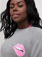 Relaxed Fit Raglan Sweatshirt - Ultra Soft Fleece Pink Lips Heather Grey, MEDIUM HEATHER GREY, alternate