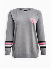 Relaxed Fit Raglan Sweatshirt - Ultra Soft Fleece Pink Lips Heather Grey, MEDIUM HEATHER GREY, hi-res