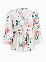 Lace-Up Babydoll Tunic - Crinkle Gauze Floral White, FLORALS-WHITE, hi-res
