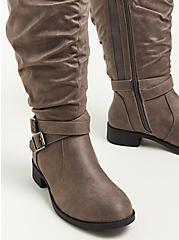 Plus Size Sweater Knee Boot - Faux Leather Grey (WW), GREY, alternate