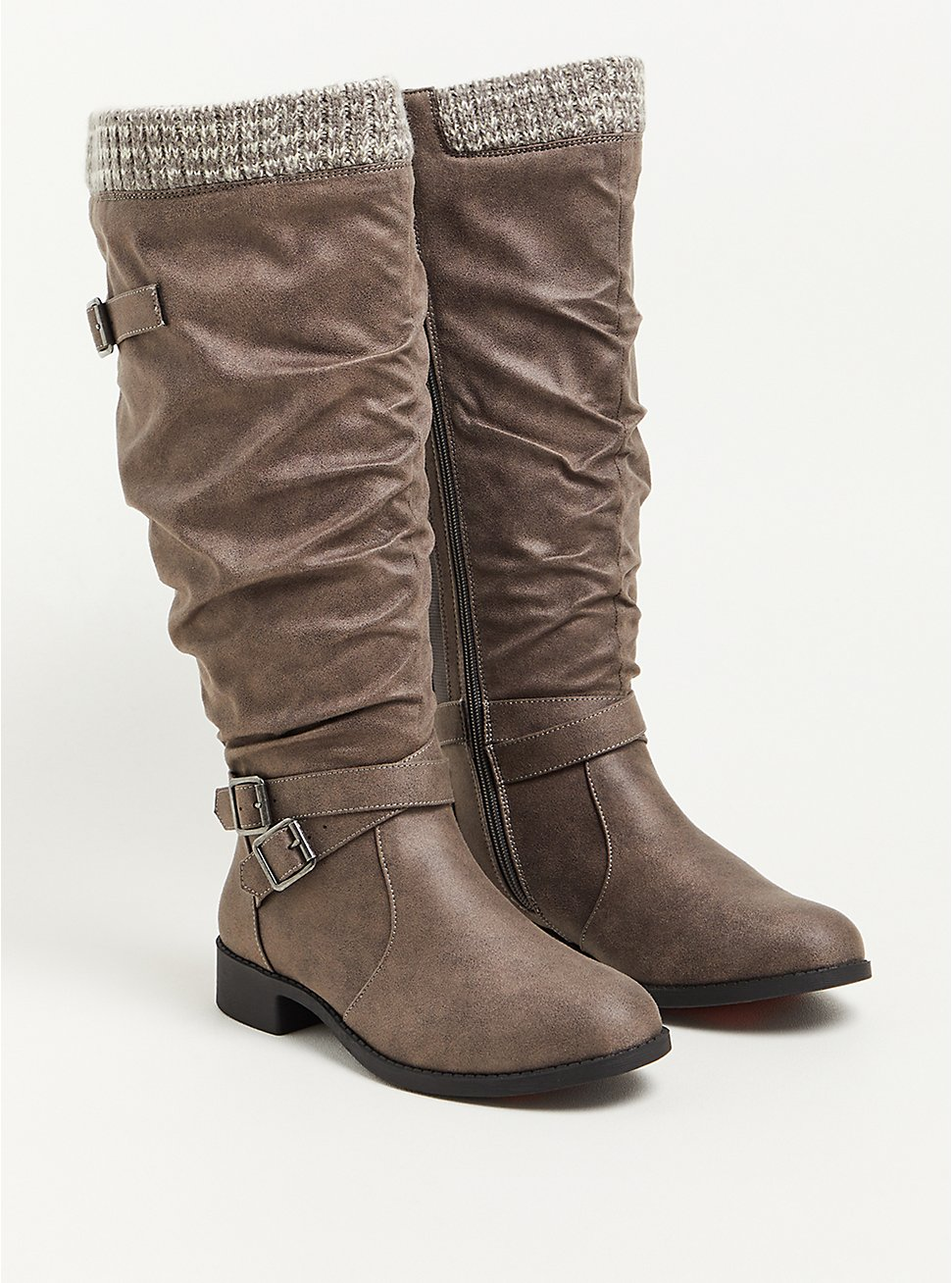 Plus Size Sweater Knee Boot - Faux Leather Grey (WW), GREY, hi-res
