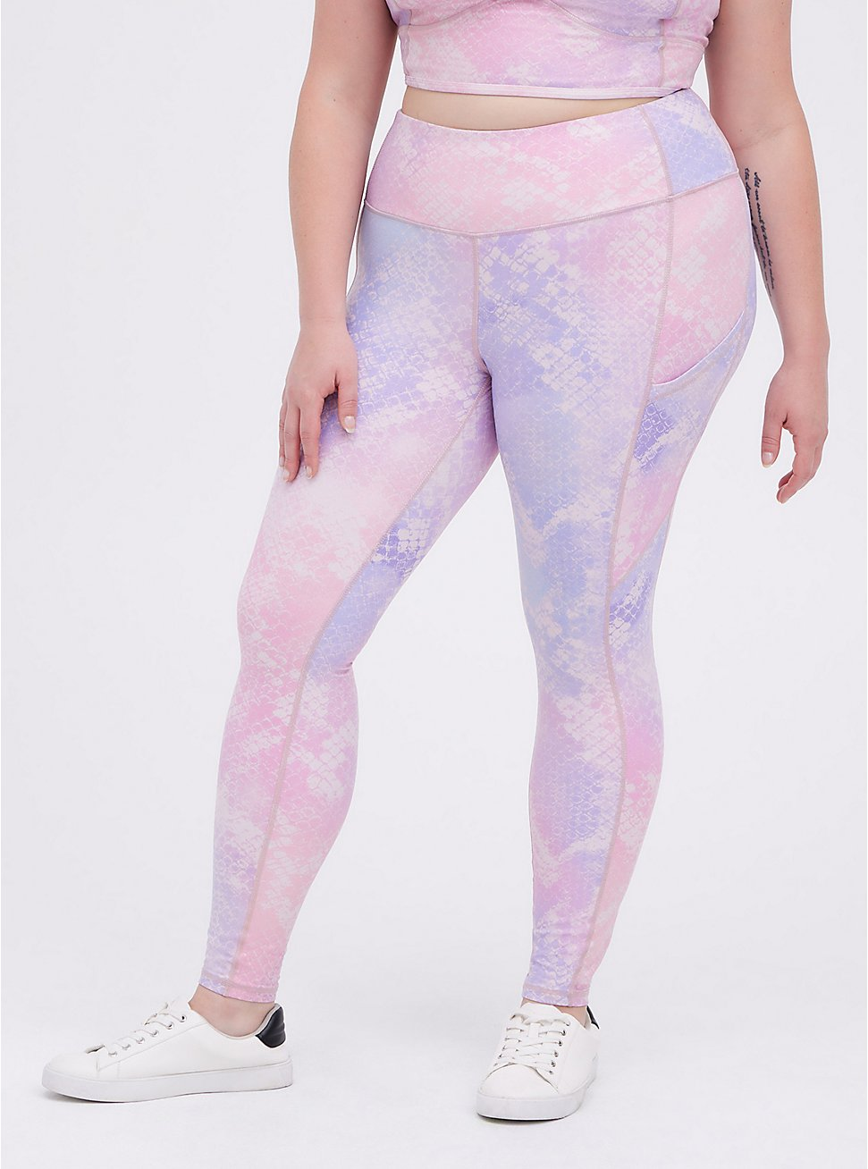 Plus Size Active Wicking Full Length Legging - Purple Shine, SNAKE - PINK, hi-res