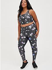 Zip Front Sports Bra - Wicking Active Stars Shine Grey, STAR - GREY, alternate
