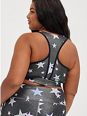 Zip Front Sports Bra - Wicking Active Stars Shine Grey, STAR - GREY, hi-res