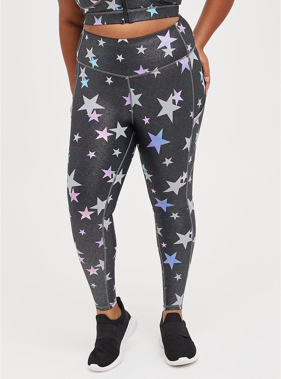 Full Length Legging - Wicking Active Stars Shine Grey, STAR - GREY, hi-res