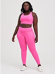 Brushed Active Wicking Strappy Sports Bra - Neon Pink, PINK GLO, alternate